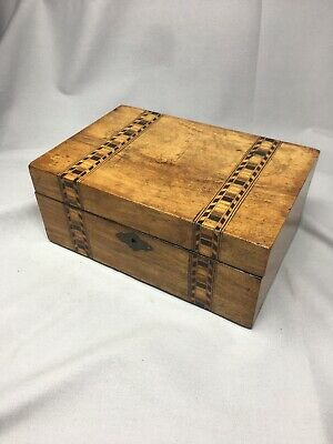 Antique Wooden Tunbridge Ware Inlaid Jewellery, Sewing Box with Internal Tray