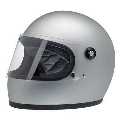 Biltwell Gringo S DOT Rated Motorcycle Helmet - Flat Silver | £80 Off RRP