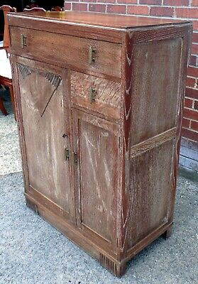 Art Deco antique geometric limed oak compact tallboy wardrobe armoire chest
