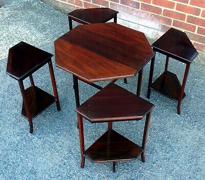 Art Deco antique geometric solid mahogany quartetto nest of side coffee tables