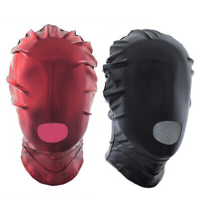 Unisex Faux Leather Open Mouth Headgear Hooded Party Roleplay Restraint Mask