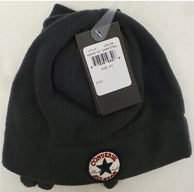 CONVERSE All Star Boys Fleece Hat & Gloves Very Warm Age 4 - 7 Years Youth Grey