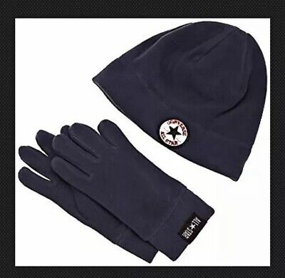 CONVERSE All Star Boys Fleece Hat & Gloves Very Warm Age 4 - 7 Years Youth Navy