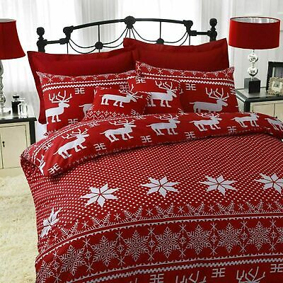 Christmas Nordic Red Duvet Set Cover Bedding With Pillow Case Quilt All Sizes