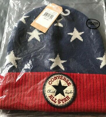 CONVERSE All Star Boys Hat Very Warm Age 4 - 7 Years Youth Red Blue & White