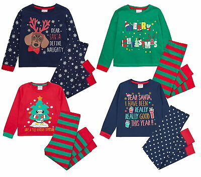 Boys Girls Novelty Christmas Pyjamas Kids Xmas Long Pjs Set 100% Cotton Size