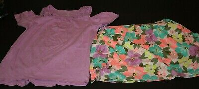 New Carter's Girls 2 Piece Outfit Set 14 Year Purple Top & Floral Skort Skirt