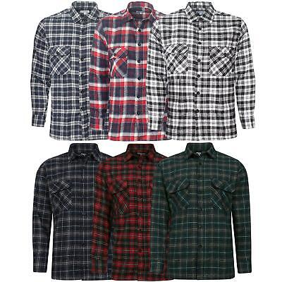Mens Check Shirts Long Sleeve Lumberjack Flannel Work Casual Button Shirt S -5XL
