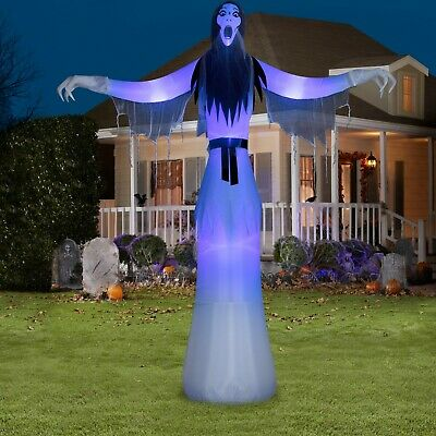 Lady Phantom Ghost Airblown Halloween Inflatable Reaper Short Circuit Light 12ft