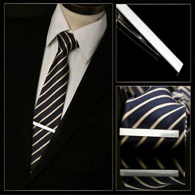 Mens Gift Concise Bar Simple Clasp Tie Clip Gold Silver Black Metal Necktie Pin