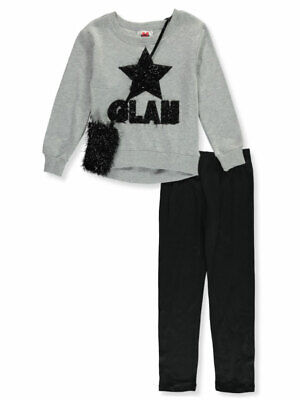 RMLA Girls' Tinsel Glam 2-Piece Leggings Set Outfit with Purse