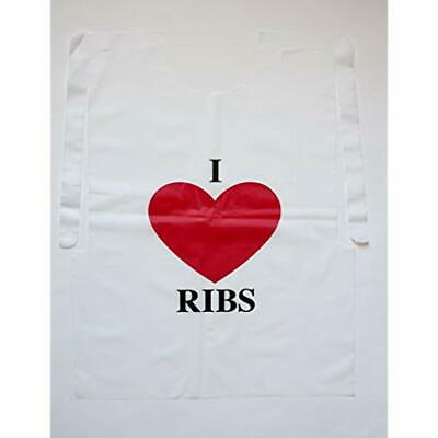 "100 Disposable Apparel Pack Plastic I Love Ribs Bibs Industrial "" Scientific"