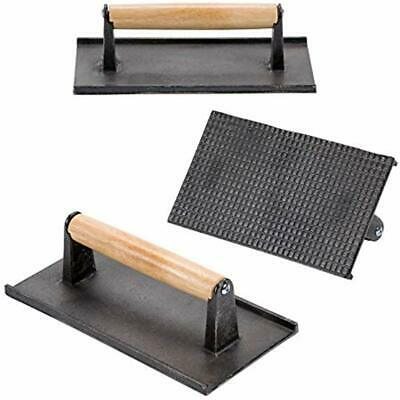 (Set Cooking Utensils Of 3) Cast Iron Steak Weight/Bacon Press With Wooden 9 X