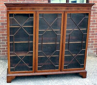 Victorian Maple & Co. antique solid mahogany inlaid triple library bookcase +key