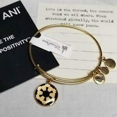 Disney Parks Authentic Alex and Ani Star Wars Imperial Symbol Bracelet Gold NEW