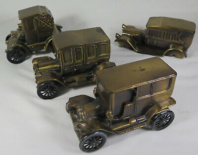 Lot of 4 Vintage 1974 Brass Banthrico Car Coin Banks