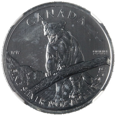 2012 Canada Silver $5 Cougar Wildlife Series 1 Ounce 9999 Fine NGC MS69 STOCK
