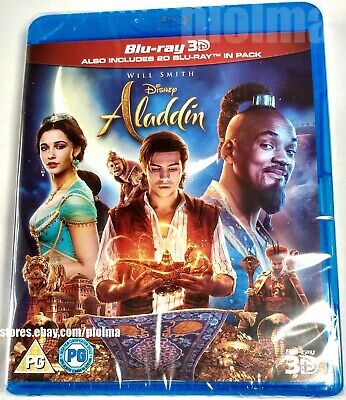 ALADDIN Brand New 3D + 2D BLU-RAY Movie 2019 Live-Action Will Smith Disney Film