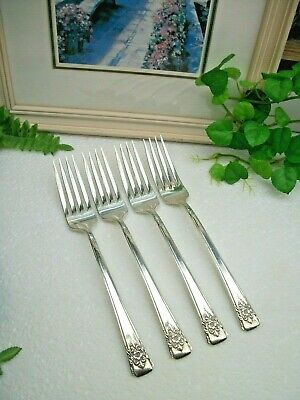 4   International Rogers  MOUNTAIN ROSE Silverplate  Salad Forks 1954