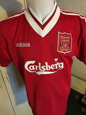 Mens Liverpool 1995/1996 Home Shirt Adidas Size UK XL Vintage Rare RUSH signed