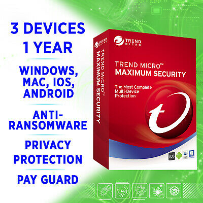 Trend Micro Maximum Security 3 devices 1 year 2019 2020 full edition Windows Mac