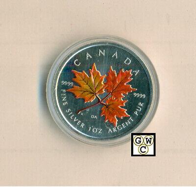 2001 Colorized Silver Maple Leaf 1oz .9999 Fine (Autumn-Red) (10483) (NT) (OOAK)
