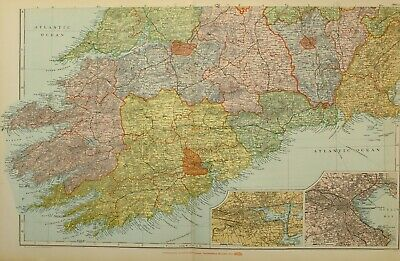 1902 Map South Ireland Cork Dublin Waterford Limerick Clare Kerry Kilkenny