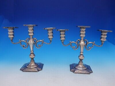 Redlich and Co Sterling Silver Candelabra Pair 3-Light Angular #2146 (#3690)