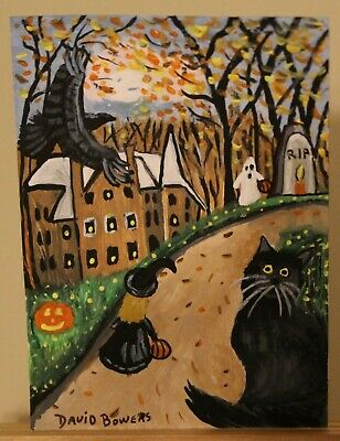 ACEO original painting Halloween Cat Witch Ghost Raven House Moon by  Artist