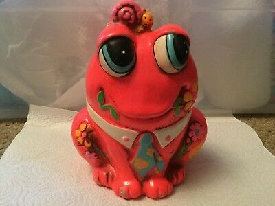 1969 Vintage Frog with Snail on Head Piggy Bank Japan Holiday Fair. Excellent