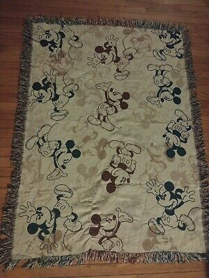 Disney Parks Mickey Mouse Afghan Blanket Throw 45x60 USA