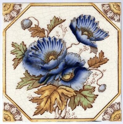 Booths, Ltd - c1903  Blue Himalayan Poppies - Antique Victorian Tile