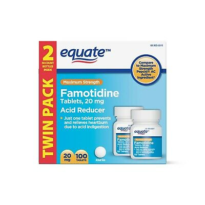 Equate Maximum Strength Famotidine Acid Reducer Tablets, Twin Pack, 20mg, 100 Ct
