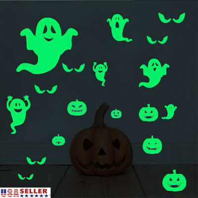 US Halloween Eyes Wall Stickers Glow In The Dark Glass Decals Luminous Decor