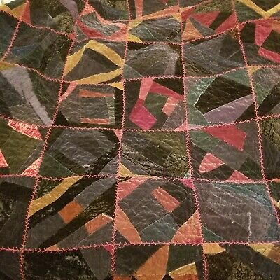 Antique Crazy Quilt, Red Cotton back Velvet  Embroidered Gorgeous