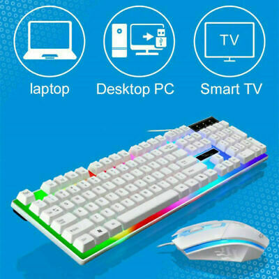 G21 LED Gaming Keyboard with Mouse RGB Computer USB Cable Mouse Keypad Set 2019
