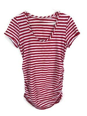 Motherhood Maternity Tee SMALL Red White Ruched Tee Shirt Casual