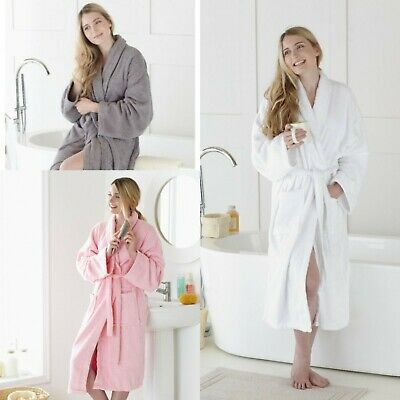 Luxury Large Women Towelling Terry Bath Robe 100% Egyptian Cotton Dressing Gown