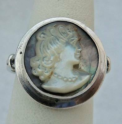 CARVED MOTHER OF PEARL LADY Sterling Silver Estate ABALONE RING size 6