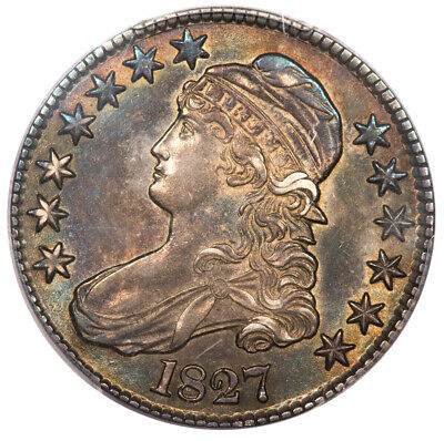 1827 50C Square Base 2 Capped Bust Half Dollar PCGS AU55 O-115