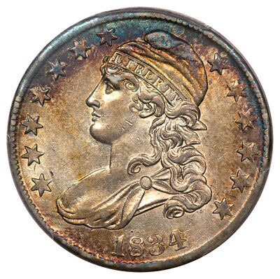 1834 50C Large Date, Small Letters O-108 Capped Bust Half Dollar PCGS AU55