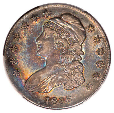 1836 50C Lettered Edge Capped Bust Half Dollar PCGS AU55 (CAC) O-112