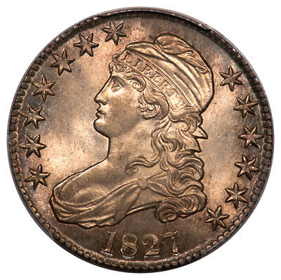1827 50C Square Base 2 Overton 110 Capped Bust Half Dollar PCGS MS64