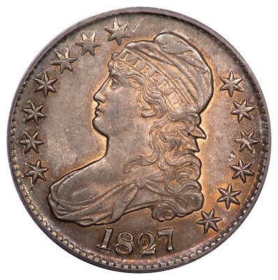 1827 50C Square Base 2 Capped Bust Half Dollar PCGS AU55 O-129 R4