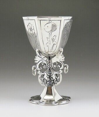 """Antique 17th 18th Century Dutch Silver Miniature Chalice or Goblet 2 1/8"""""""