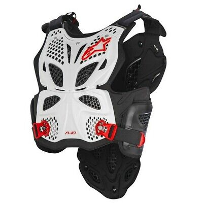 New Alpinestars A10 Chest Protector Body Armour White Red Motocross