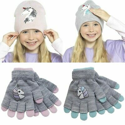 New Girls Kids Winter Xmas Unicorn Gloves and Beanie Hat with Reversible Sequins
