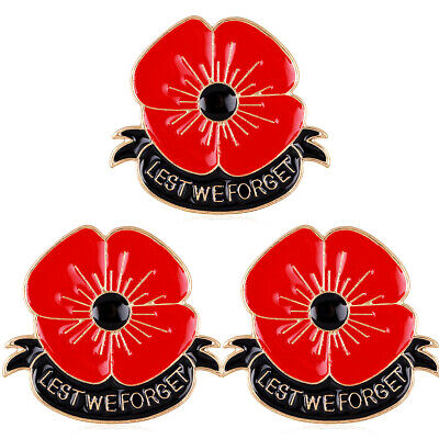 2019 Red Poppy Enamel Pin Badge Brooch Lest We Forget Remembrance Day Jewellery