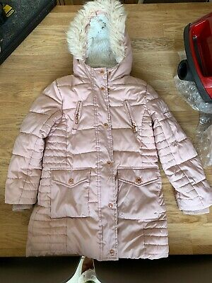 George Girls Pink Winter Coat, Age 5-6 Years, Excellent Condition, Fur Hood.