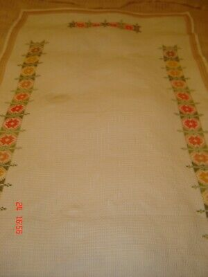 Vintage Cotton Cross Stitch Embroidery Table Cloth